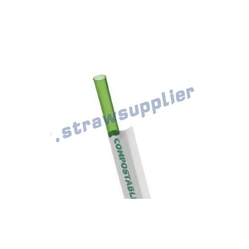 compostable wrapped green drink straws