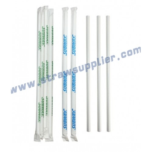 individul paper wrapped with printing straight straws