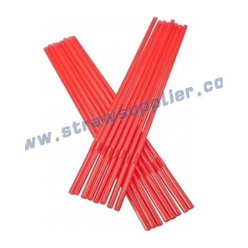 red 5mm flexible straw
