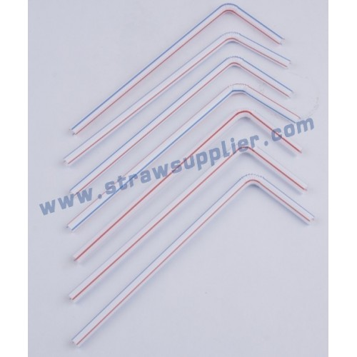 striped bendy straws-white with two colors stripes