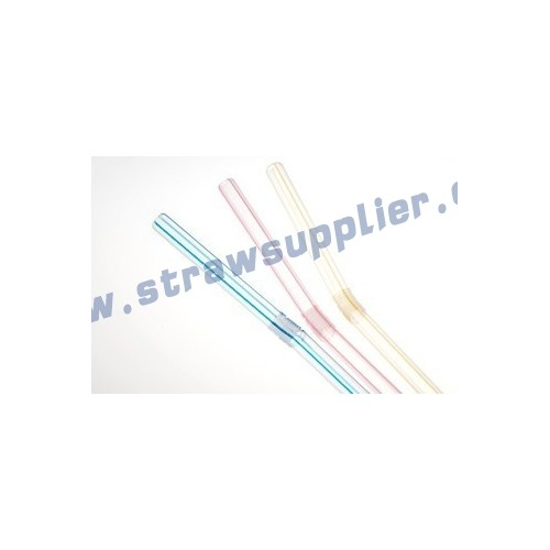 striped bendy straws-transparent with color stripes