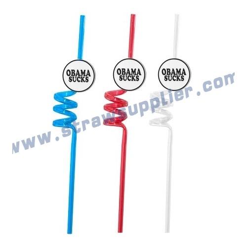 crazy straws with logo-OBAMA-word