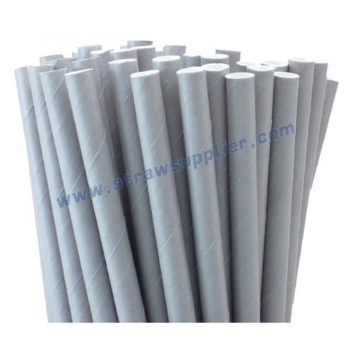 Grey Plain Paper Straws