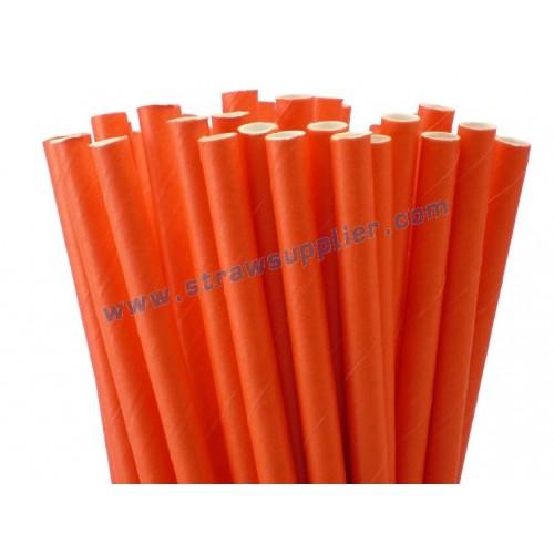 Tangerine Tango Plain Paper Straws