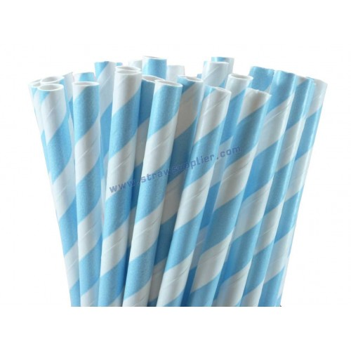 Baby Blue Striped Paper Straws