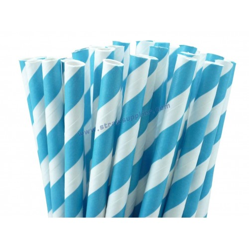 Turquoise Blue Striped Paper Straws