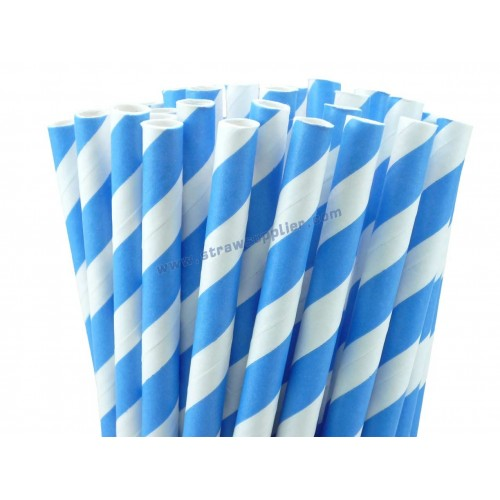 Dark Blue Striped Paper Straws