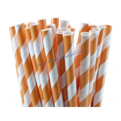 Orange Striped Paper Straws