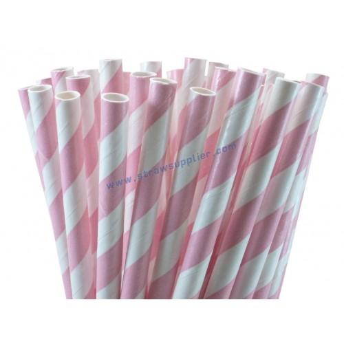 Light Pink Striped Paper Straws