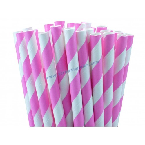 Pink Striped Paper Straws