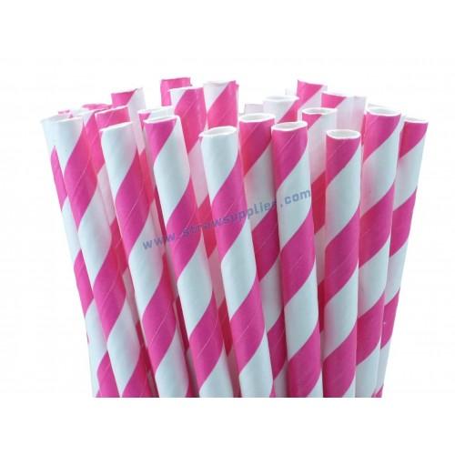 Shocking Pink Striped Paper Straws