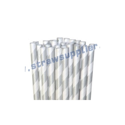 Silver Striped Paper Straws