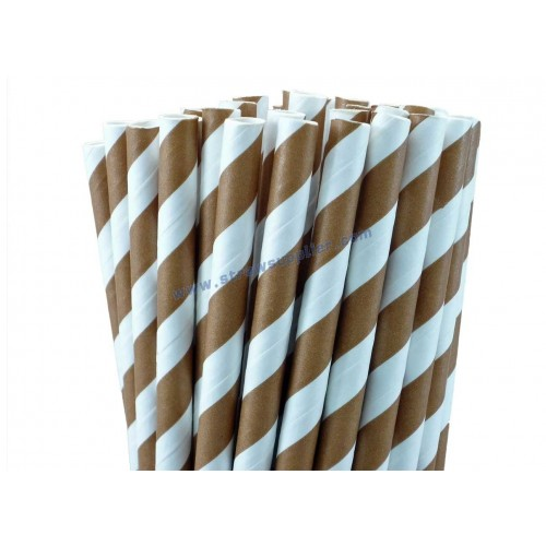 Brown Striped Paper Straws