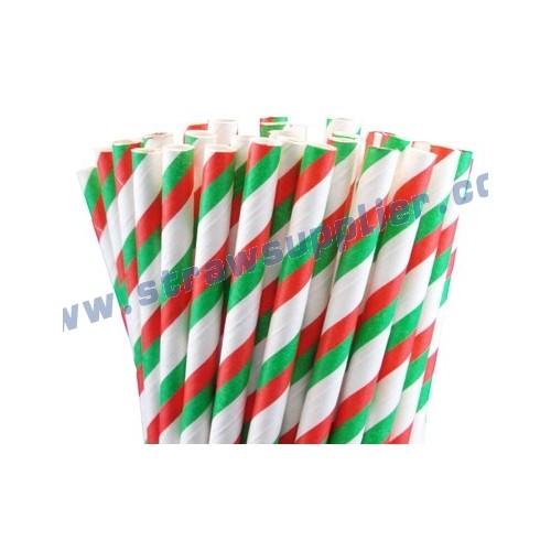 Christmas Striped Paper Straws