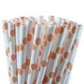 Orange Polka Dot Paper Straws