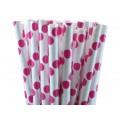 Hot Pink Polka Dot Paper Straws