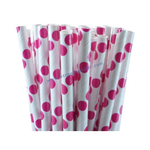 Hot Pink Polka Dot Paper Straws