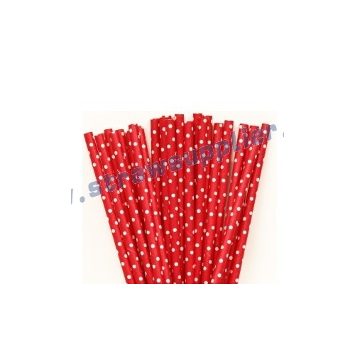 Red Mini Spots Paper Straws