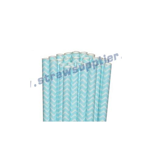 Light Blue Chevron Paper Straws