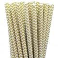Gold Chevron Paper Straws