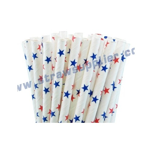 Red Blue Star Paper Straws